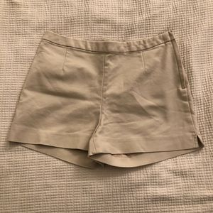 High Waisted Tan Shorts with Zipper Closure